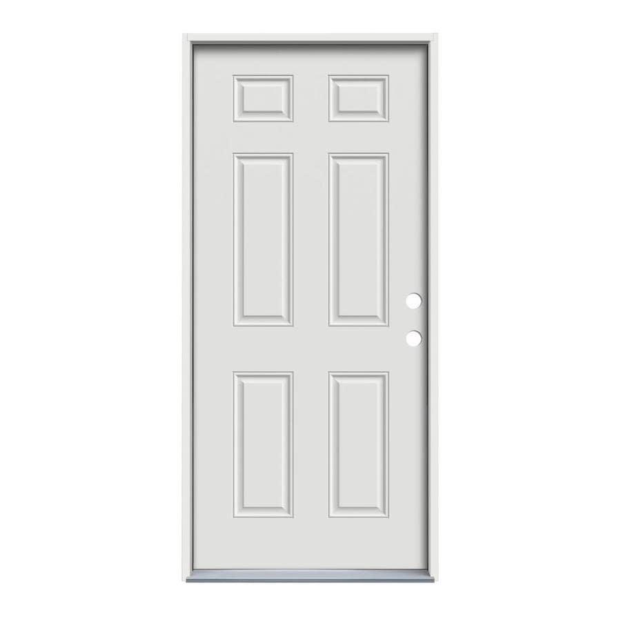 JELD-WEN 6-Panel Insulating Core Left-Hand Inswing White Steel Primed Prehung Entry Door (Common: 32-in x 80-in; Actual: 33.5-in x 81.75-in)