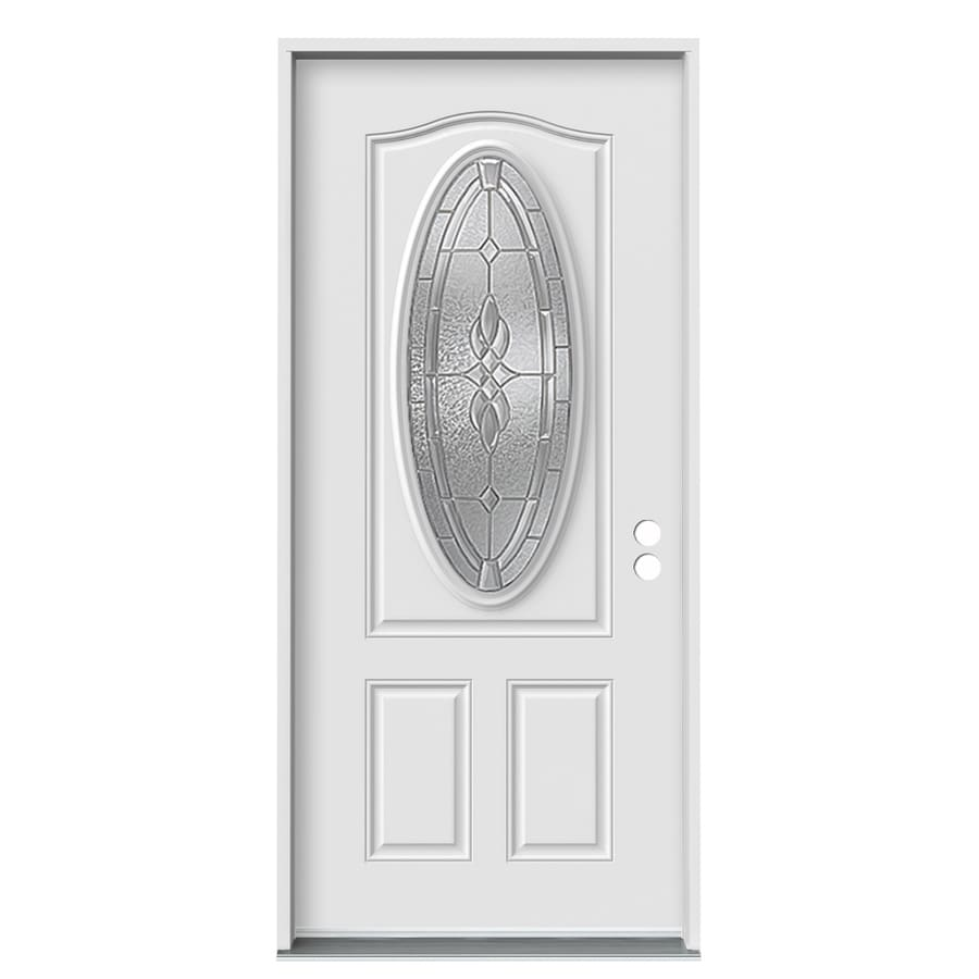 ReliaBilt 2-Panel Insulating Core Oval Lite Left-Hand Inswing White Fiberglass Primed Prehung Entry Door (Common: 36.0000-in x 80.0000-in; Actual: 37.5000-in x 81.7500-in)