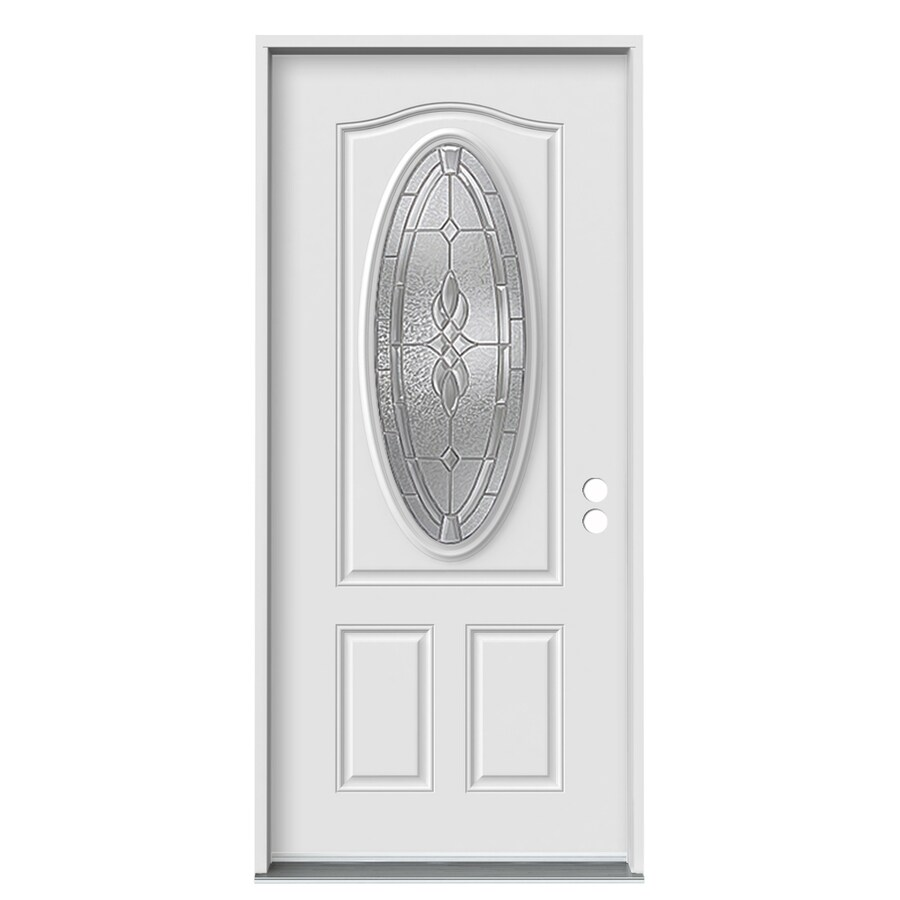 JELD-WEN 2-Panel Insulating Core Oval Lite Left-Hand Inswing White Fiberglass Primed Prehung Entry Door (Common: 36-in x 80-in; Actual: 37.5-in x 81.75-in)