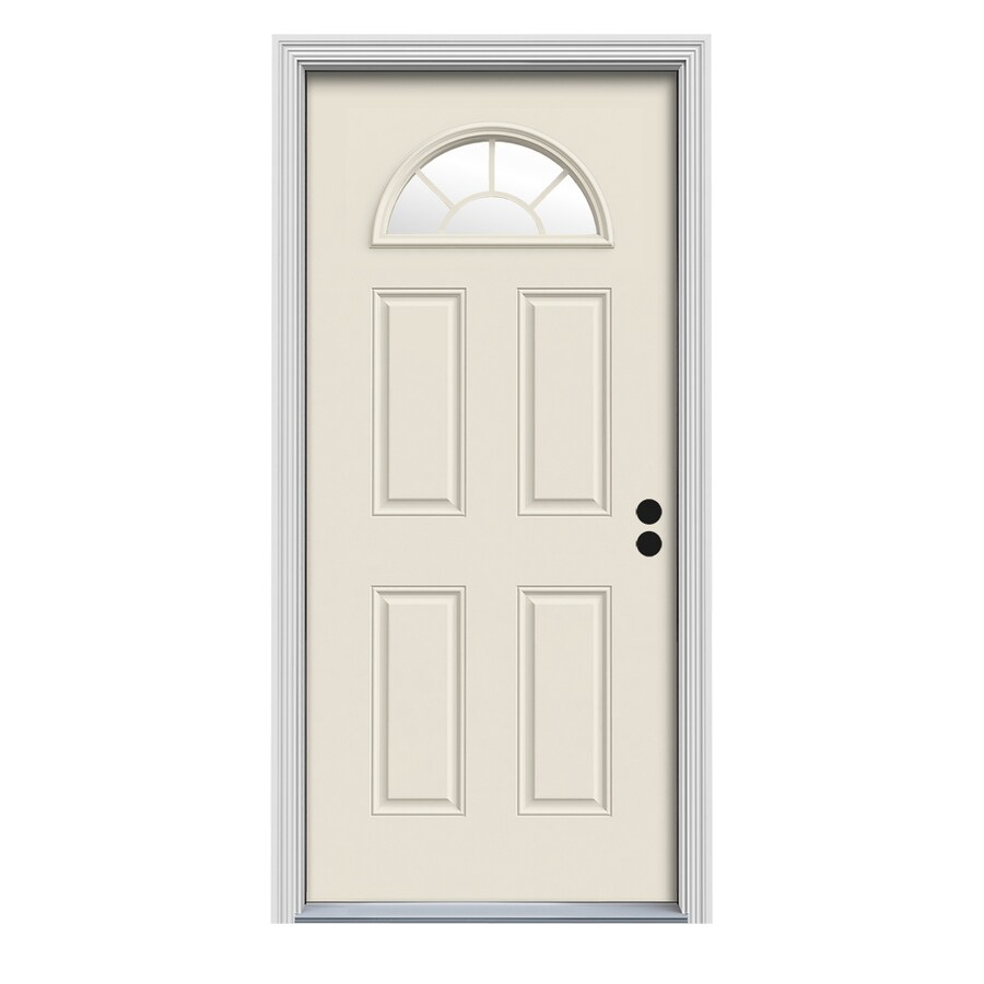 ReliaBilt Decorative Glass Left-Hand Inswing Primed Fiberglass Prehung Entry Door with Insulating Core (Common: 36-in x 80-in; Actual: 37.5-in x 81.75-in)