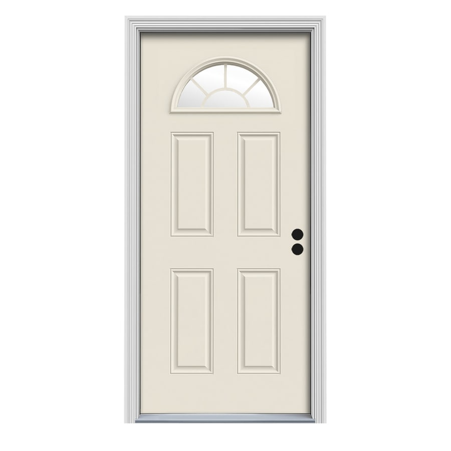 ReliaBilt Decorative Glass Left-Hand Inswing White Fiberglass Primed Entry Door (Common: 32-in x 80-in; Actual: 33.5-in x 81.75-in)