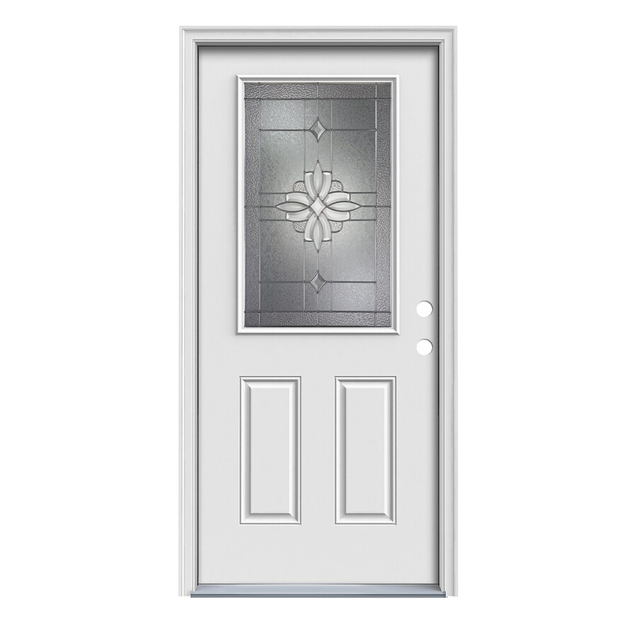 JELD-WEN 2-Panel Insulating Core Half Lite Left-Hand Inswing White Fiberglass Primed Prehung Entry Door (Common: 36-in x 80-in; Actual: 37.5-in x 81.75-in)