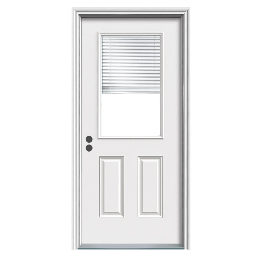 JELD-WEN 2-Panel Insulating Core Blinds Between The Glass Half Lite Right-Hand Inswing White Fiberglass Primed Prehung Entry Door (Common: 32-in x 80-in; Actual: 33.5-in x 81.75-in)
