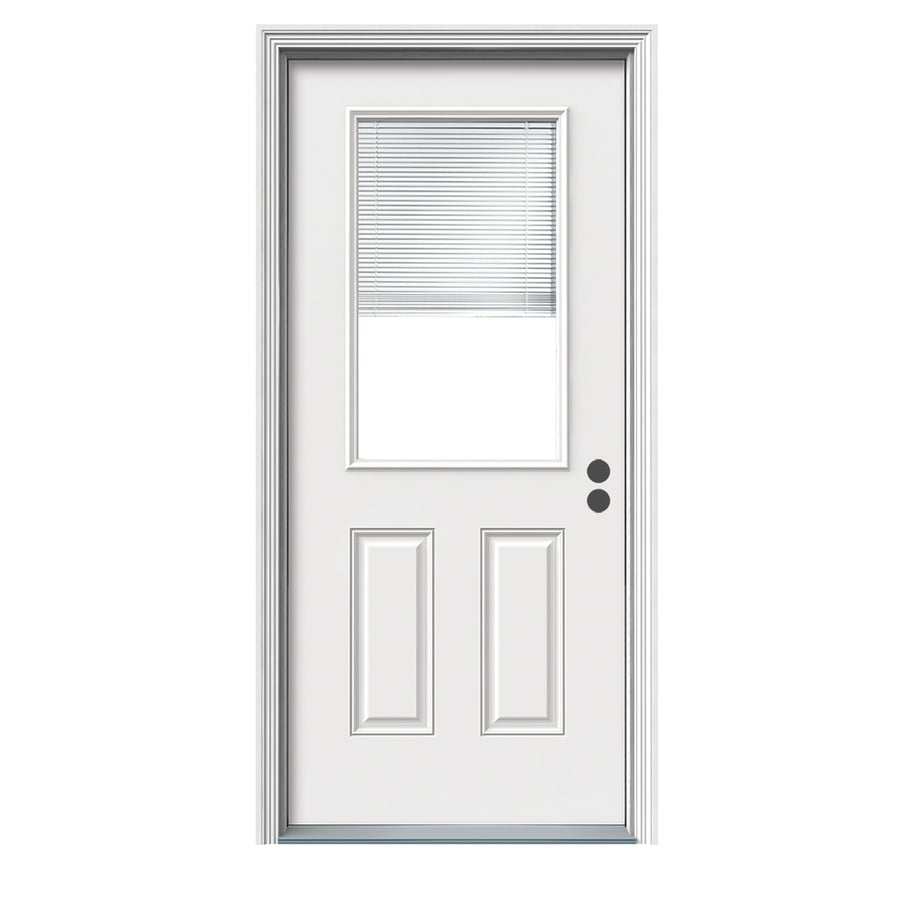 ReliaBilt Blinds Between the Glass Left-Hand Inswing White Fiberglass Primed Entry Door (Common: 36-in x 80-in; Actual: 37.5-in x 81.75-in)