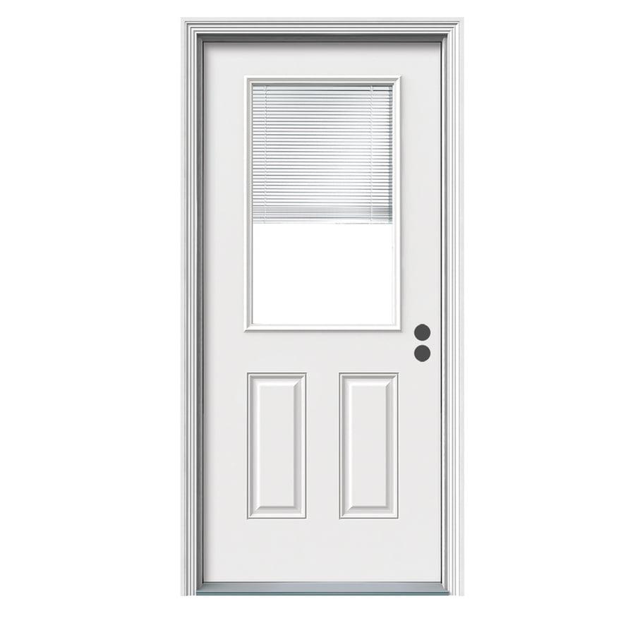 JELD-WEN 2-Panel Insulating Core Blinds Between The Glass Half Lite Left-Hand Inswing White Fiberglass Primed Prehung Entry Door (Common: 36-in x 80-in; Actual: 37.5-in x 81.75-in)
