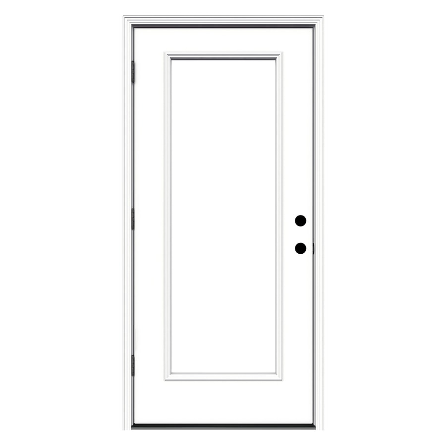 ReliaBilt Decorative Glass Right Hand Outswing White Primed Steel Prehung Entry  Door With Insulating Core