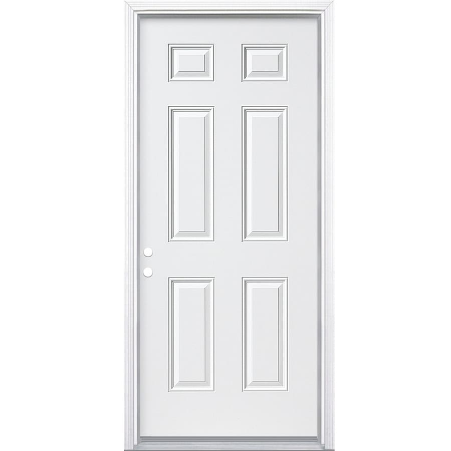 JELD-WEN 6-Panel Insulating Core Right-Hand Inswing White Steel Primed Prehung Entry Door (Common: 36-in x 80-in; Actual: 37.5-in x 81.5-in)