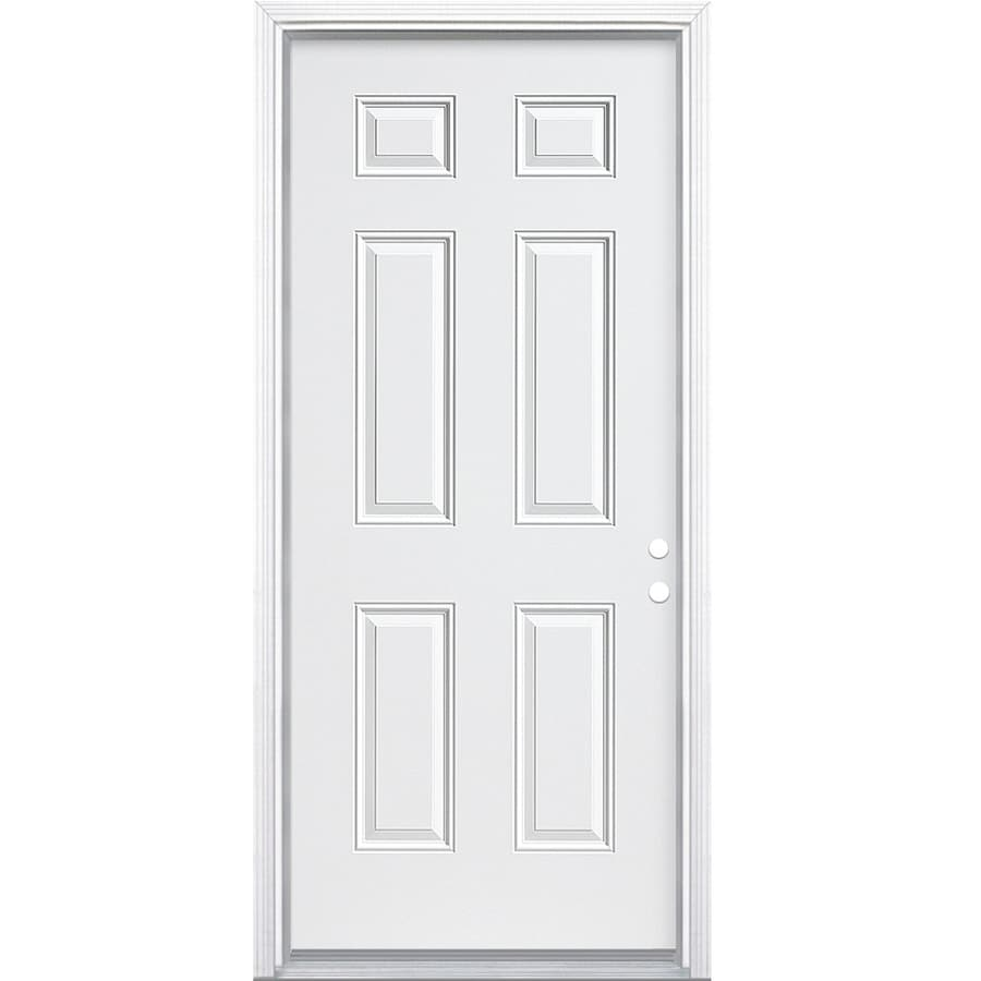 JELD-WEN 6-Panel Insulating Core Left-Hand Inswing White Steel Primed Prehung Entry Door (Common: 36-in x 80-in; Actual: 37.5-in x 81.5-in)