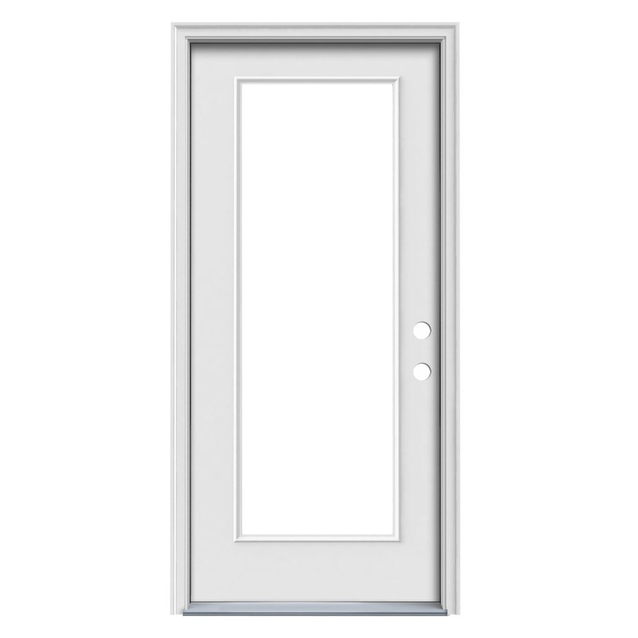 JELD-WEN Flush Insulating Core Full Lite Left-Hand Inswing White Steel Primed Prehung Entry Door (Common: 32.0-in x 80.0-in; Actual: 33.5-in x 81.5-in)