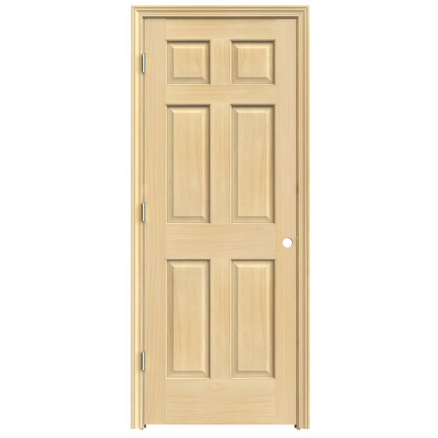 JELD-WEN 6-Panel Prehung Solid Core 6-Panel Pine Interior Door (Common: 30-in x 80-in; Actual: 31.5-in x 81.5-in)