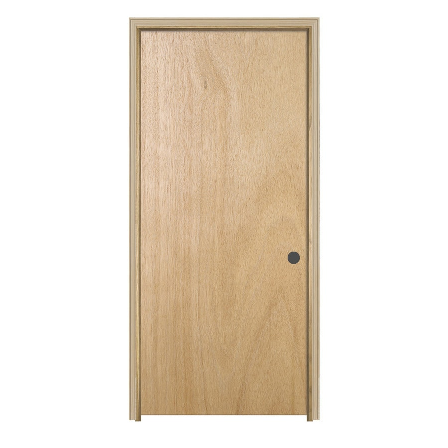 JELD-WEN Flush Lauan Single Prehung Interior Door (Common: 24-in x 80-in; Actual: 25.5-in x 81.5-in)