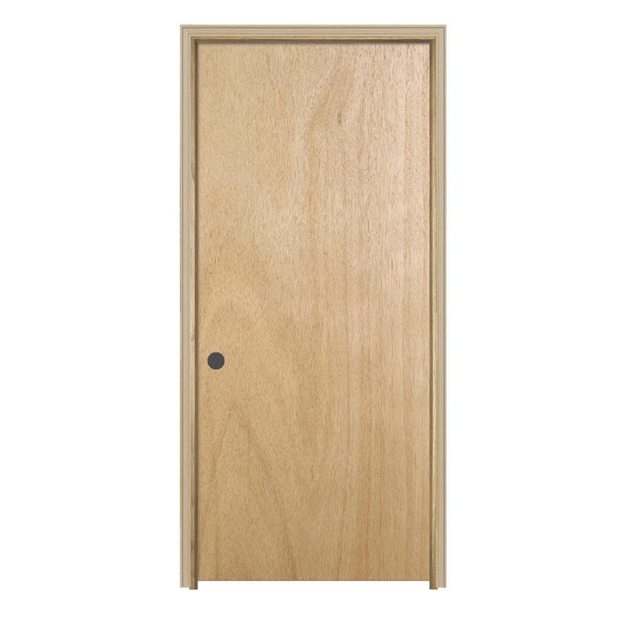JELD-WEN Flush Lauan Single Prehung Interior Door (Common: 32-in X 80-in; Actual: 33.5-in x 81.5-in)