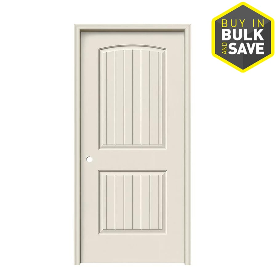 JELD-WEN 2-Panel Round Top Plank Prehung Hollow Core 2-Panel Round Top Plank Interior Door (Common: 36-in x 80-in; Actual: 37.5-in x 81.5-in)