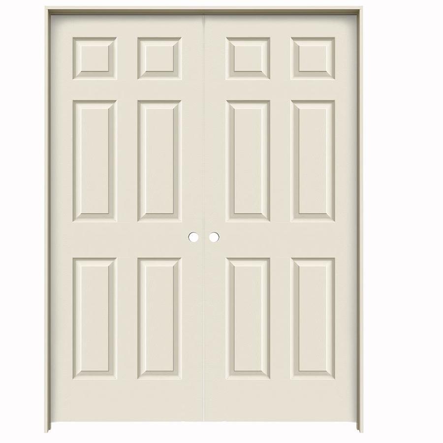 JELD-WEN 6-Panel Prehung Hollow Core 6-Panel Interior Door (Common: 60-in x 80-in; Actual: 61.5-in x 81.5-in)