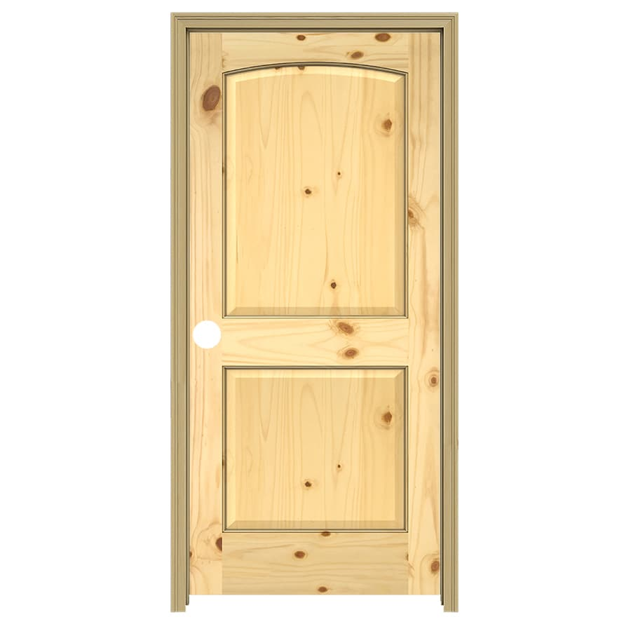 JELD-WEN 2-Panel Arch Top Prehung Solid Core 2-Panel Arch Top Knotty Pine Interior Door (Common: 24-in x 80-in; Actual: 25.5-in x 81.5-in)