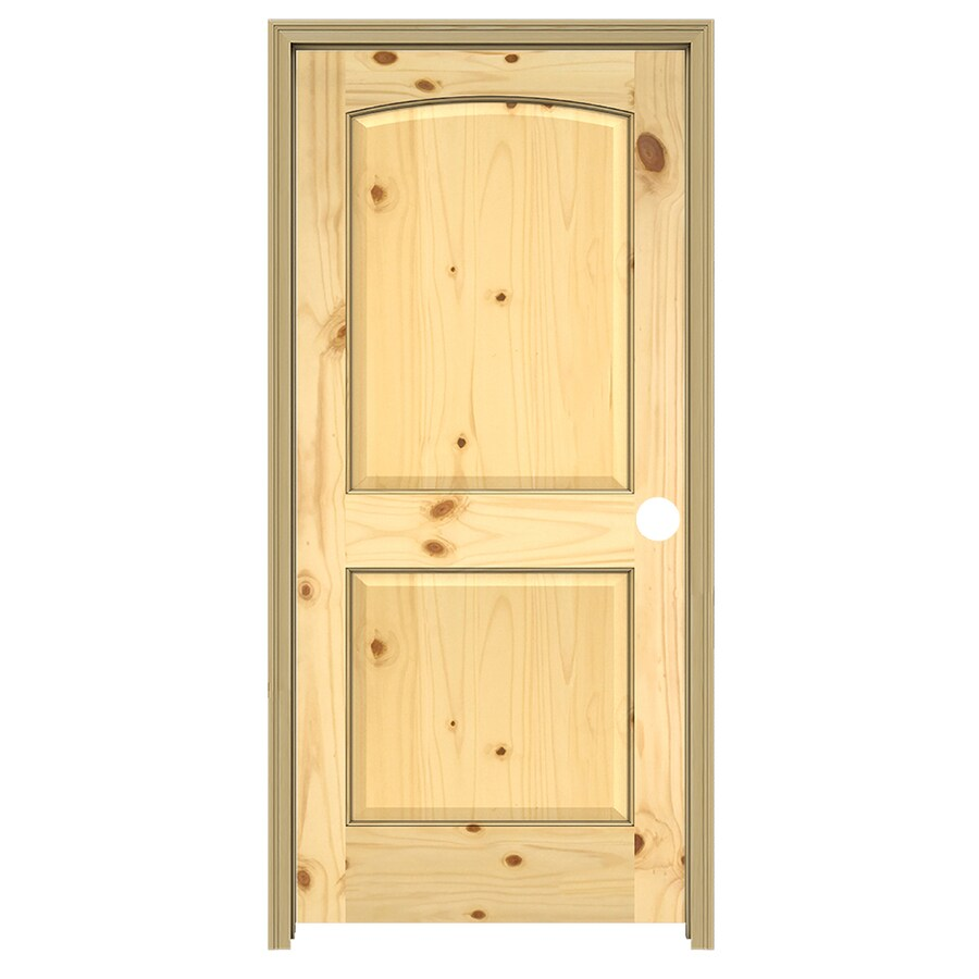 JELD-WEN 2-Panel Arch Top Prehung Solid Core 2-Panel Arch Top Knotty Pine Interior Door (Common: 32-in x 80-in; Actual: 33.5-in x 81.5-in)