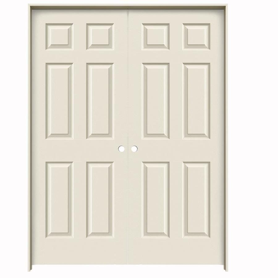 JELD-WEN 6-Panel Prehung Hollow Core 6-Panel Interior Door (Common: 60-in x 80-in; Actual: 61.5-in x 81.5-in)