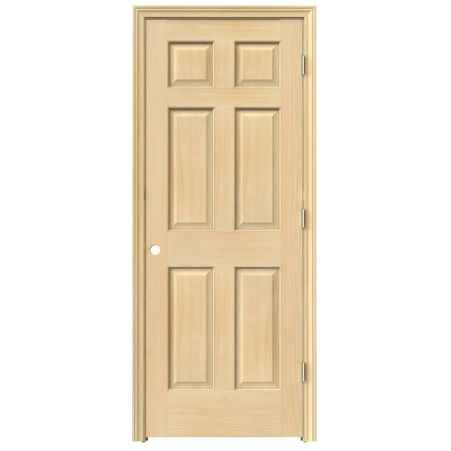 Shop Jeld Wen 6 Panel Pine Single Prehung Interior Door Common 32 In X 80 In Actual 33 5 In
