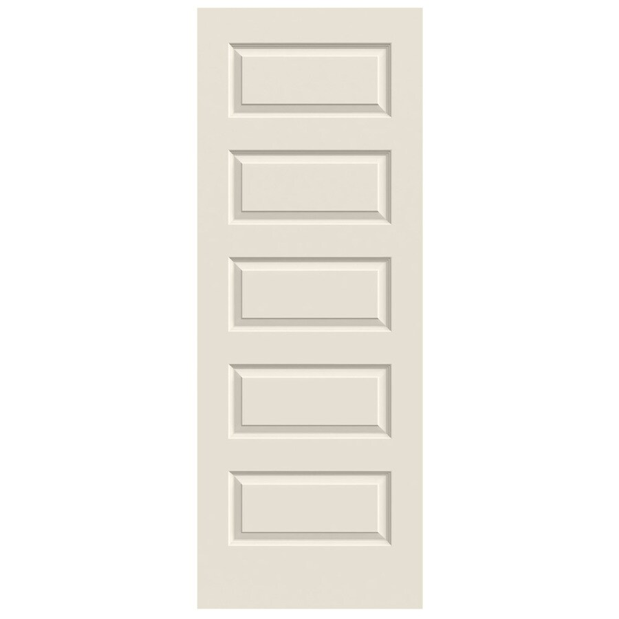 JELD WEN Rockport Primed 5 Panel Equal Solid Core Molded Composite Slab Door  (