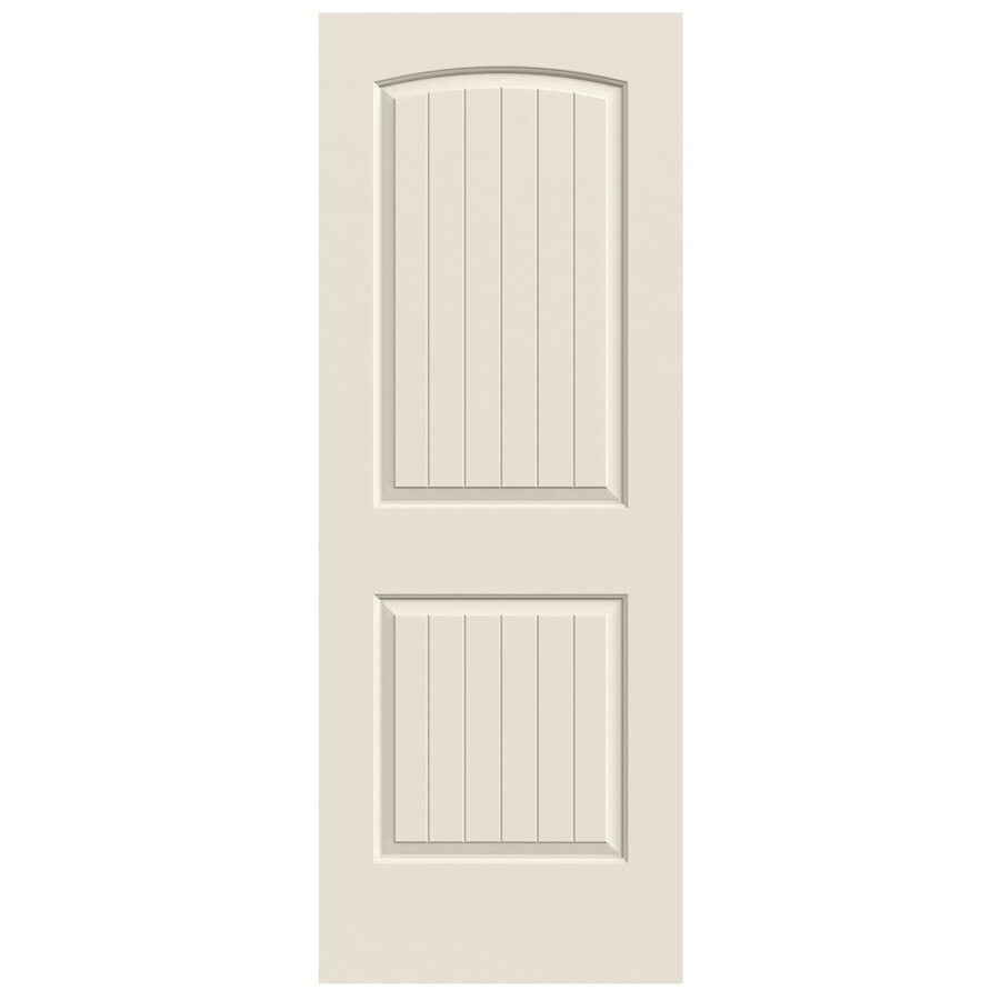 JELD-WEN (Primed) Solid Core 2-Panel Round Top Plank Slab Interior Door (Common: 28-in x 80-in; Actual: 28-in x 80-in)