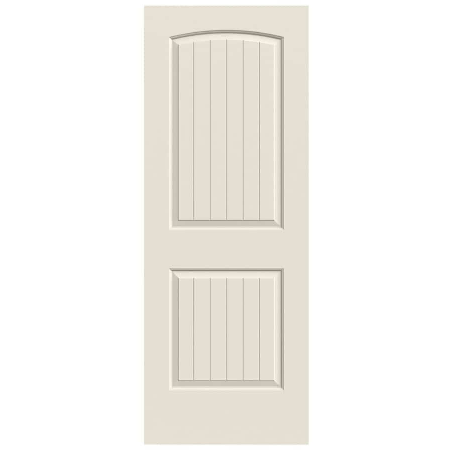 Jeld Wen Santa Fe Primed 2 Panel Round Top Plank Solid Core Molded Composite