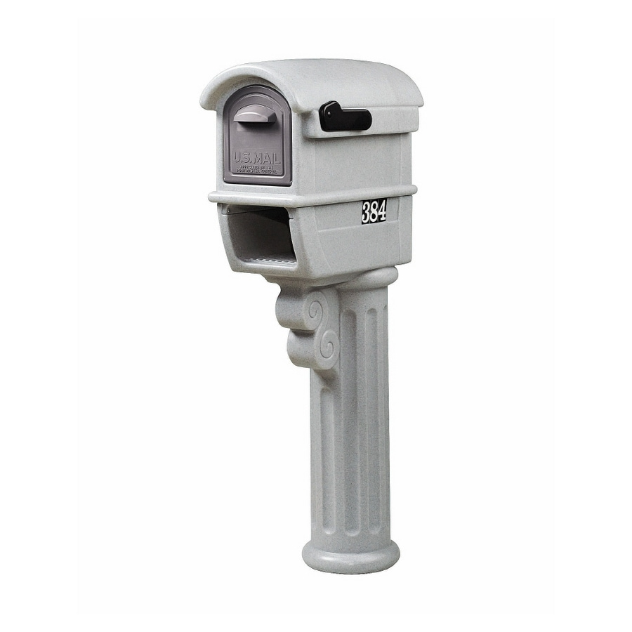 Step 2 MailMaster 11.5-in x 51-in Plastic Gray Marble-Look Post Mount Mailbox