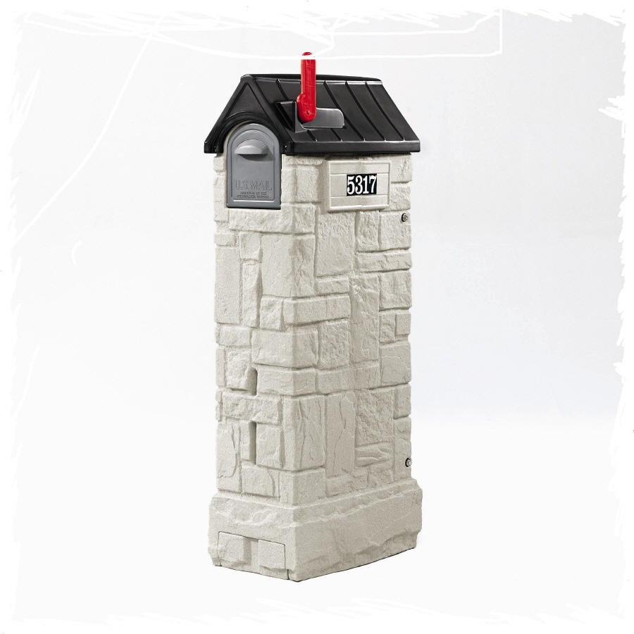 Shop Step2 Mailmaster 1525 in X 53375 in Plastic Stone Gray And Black Lockable Post Mount