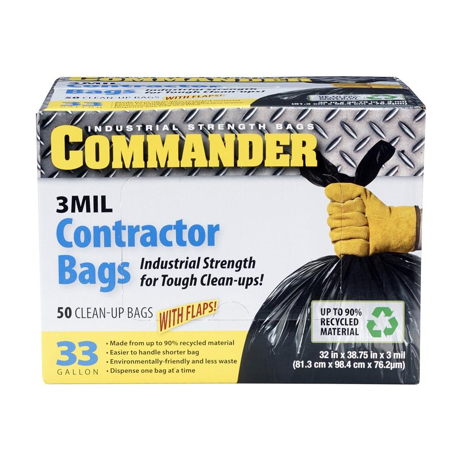 Commander 50 Count 33 Gallon Scent Free Black Construction Trash Bags
