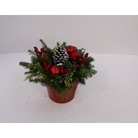 fresh christmas decorative fruit and greenery basket