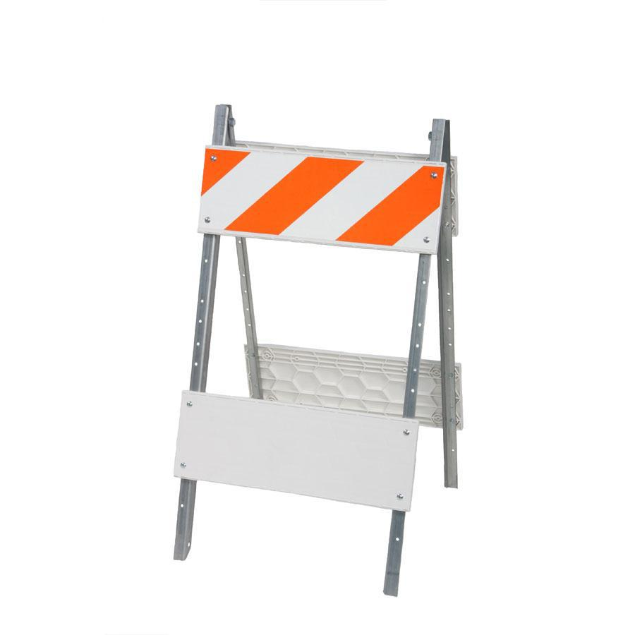 Three D Traffic Works Type I Plastic and Metal Folding Barricade with Reflective Sheeting.