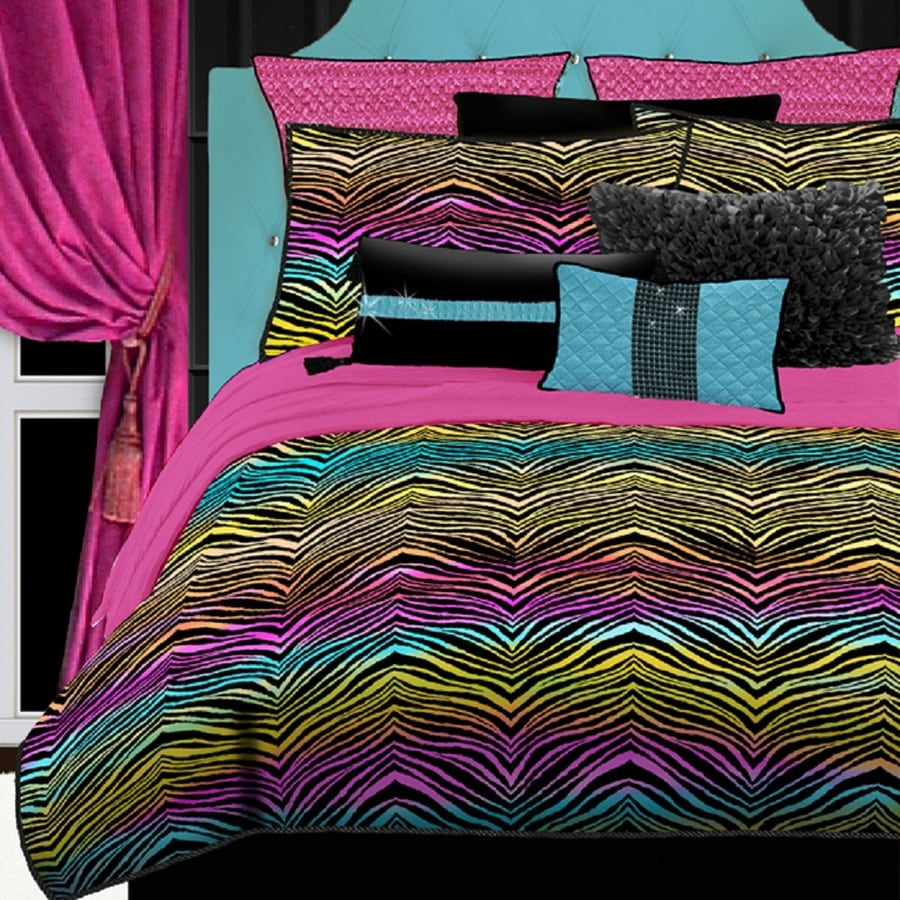 Rainbow Zebra 4 Piece Rainbow Queen Comforter Set