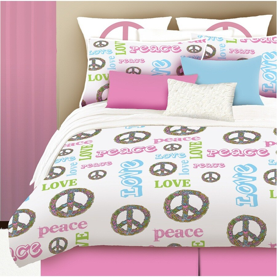 Peace and Love 4-Piece Pink Full Comforter Set