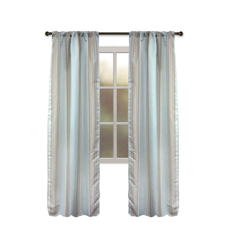 allen + roth Northfield 95-in Aqua Polyester Rod Pocket Single Curtain Panel
