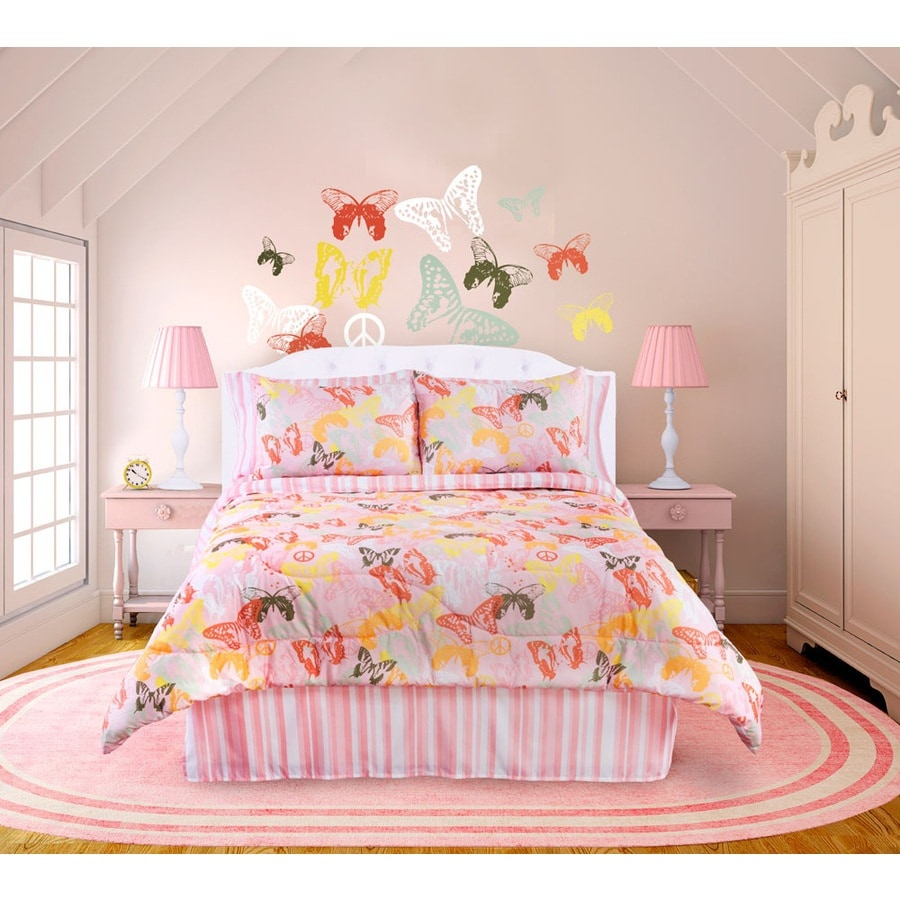 Butterflies Are Free 4-Piece Pink Full Comforter Set