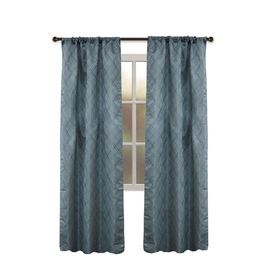 Allen Roth Bannerton 63 In Slate Blue Polyester Rod Pocket Single Curtain Panel