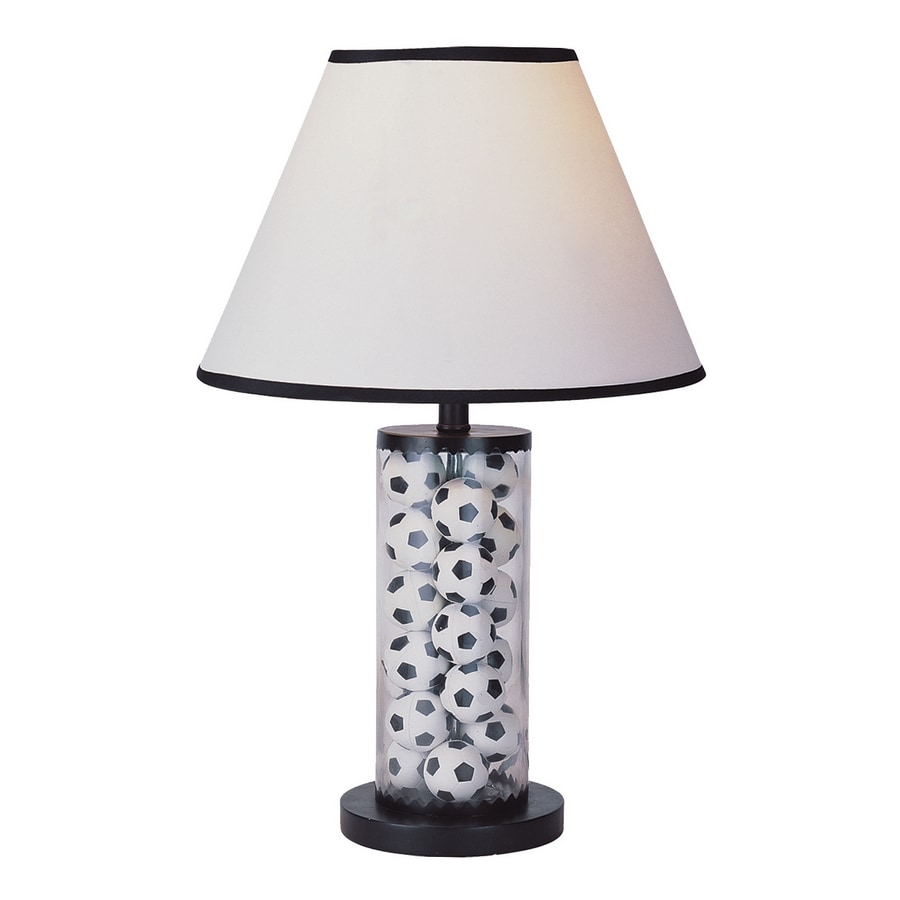 """Heico Soccer Ball Lamp: Portfolio 20"""" Black And White Table Lamp With White Soccer"""