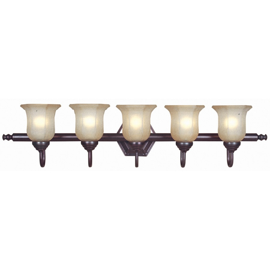 Bathroom Vanity Lights In Bronze shop portfolio 5-light oil-rubbed bronze bathroom vanity light at