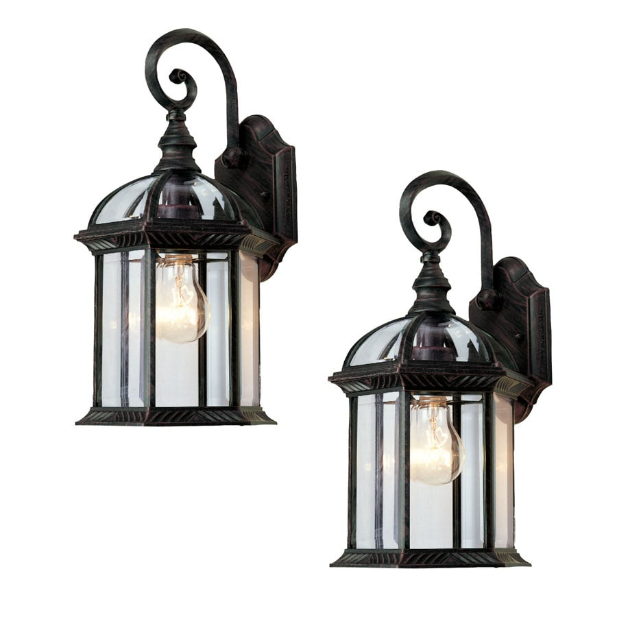 Portfolio 2-Pack 15-1/2-in Rust Outdoor Wall Light
