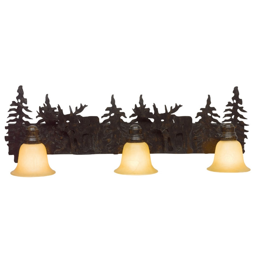 Bathroom Lights Rusting shop bel air lighting 3-light lodge decor rust bathroom vanity