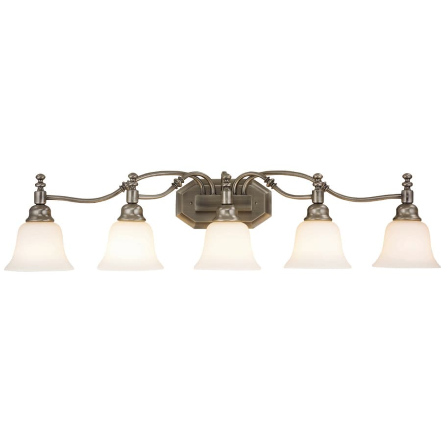 Vanity Light With Plug Lowes : Shop Portfolio Madonna 5-Light 9-in Antique Nickel Vanity Light at Lowes.com