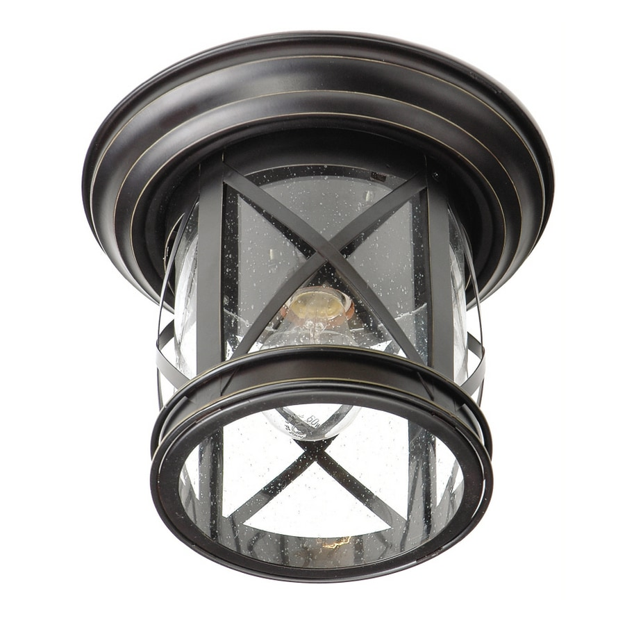 allen + roth 9-7/8-in Oil-Rubbed Bronze Outdoor Flush Mount Light