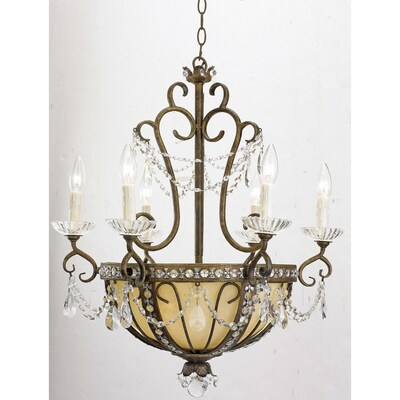Portfolio 9-Light Antique Bronze Traditional Marbleized Glass Candle Chandelier