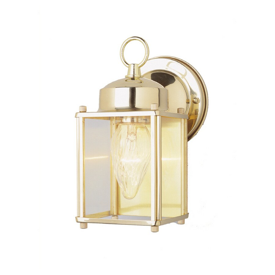 Portfolio 9-in H Polished Brass Outdoor Wall Light