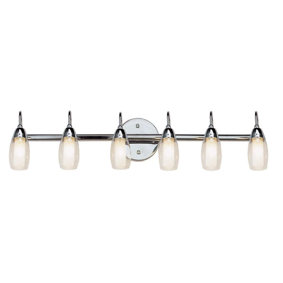 Portfolio 6 light polished chrome bathroom vanity light at lowes com