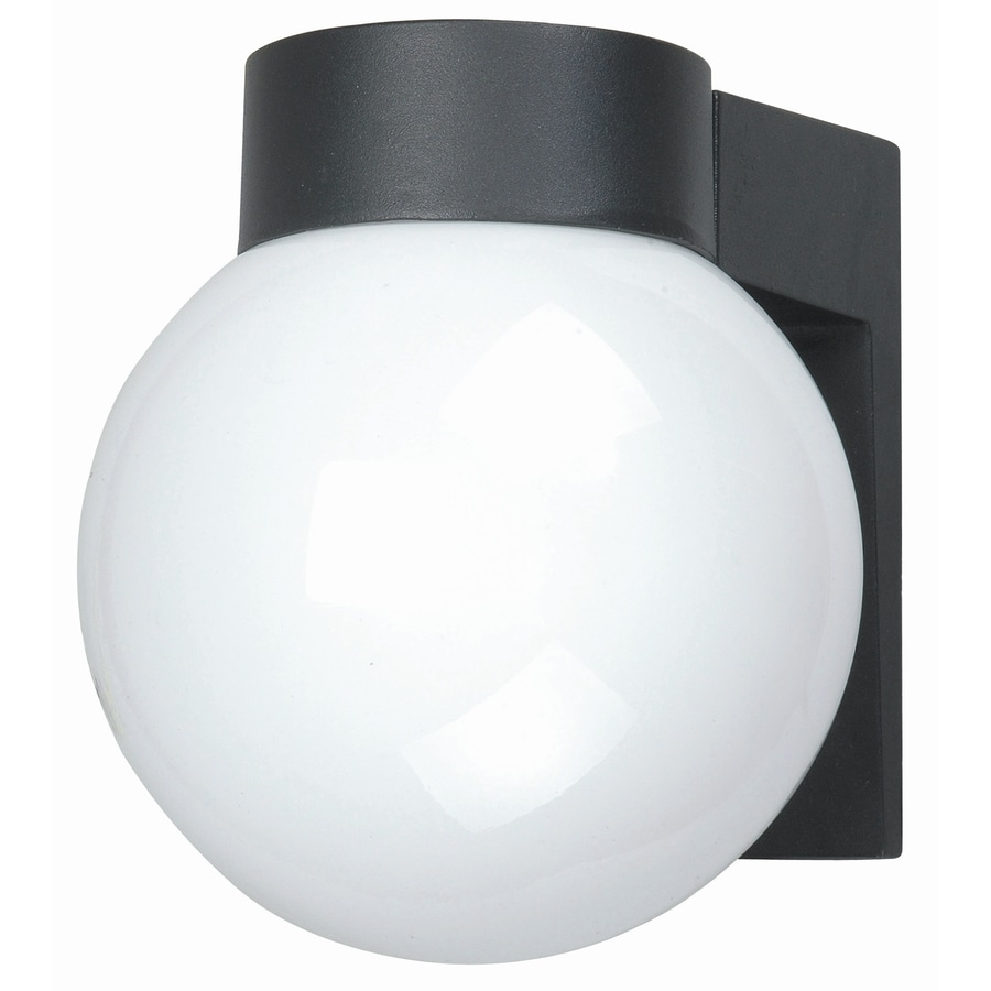 shop bel air lighting black outdoor wall light with opal glass globe
