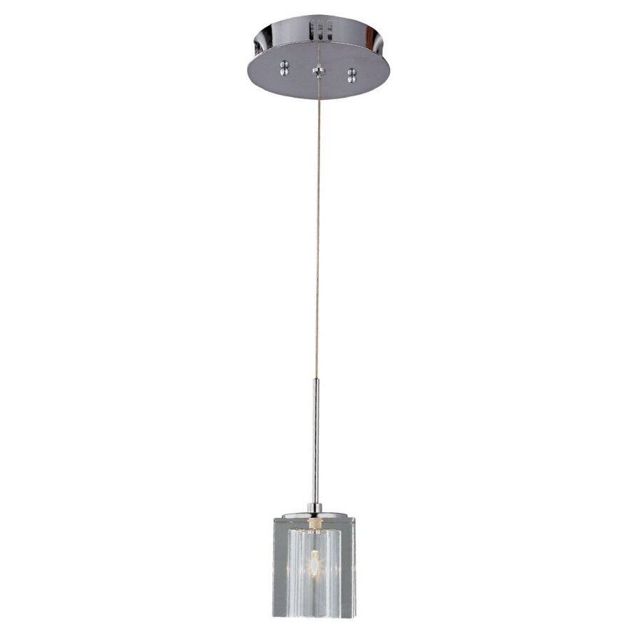 Bel Air Lighting 3 In W Chrome Mini Pendant Light With Crystal Shade
