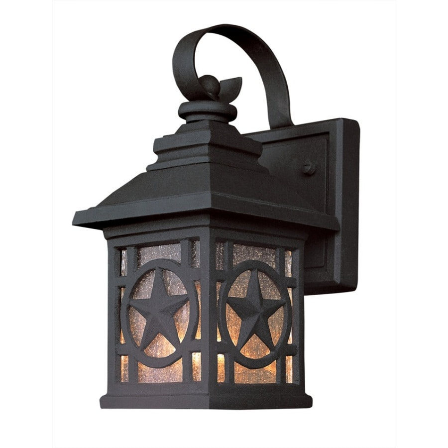 Portfolio 14.12-in H Black Outdoor Wall Light