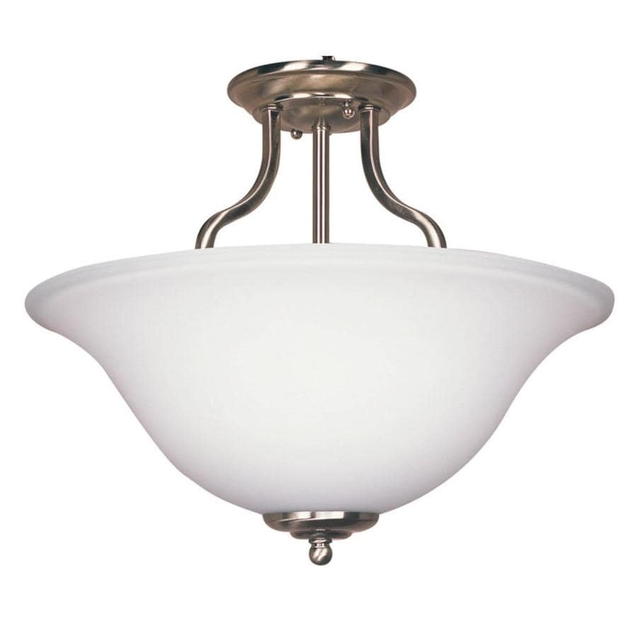 Bel Air Lighting 15-1/4-in W Brushed Nickel Opalescent Glass Semi-Flush Mount Ceiling Light