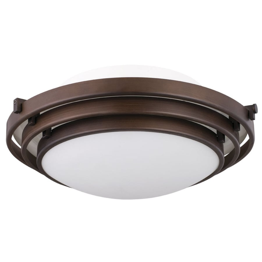 Portfolio 12.6-in W Oil Rubbed Bronze Flush Mount Light