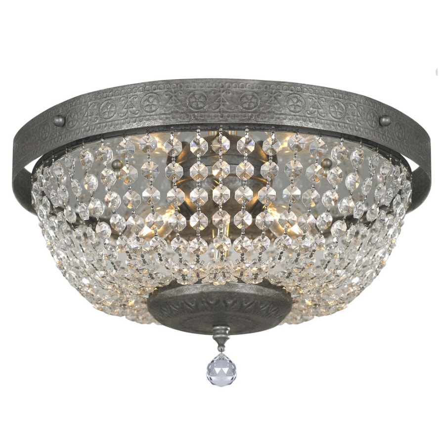 Portfolio 14-in W Antique Silver Crystal Accent Flush Mount Light - Shop Portfolio 14-in W Antique Silver Crystal Accent Flush Mount